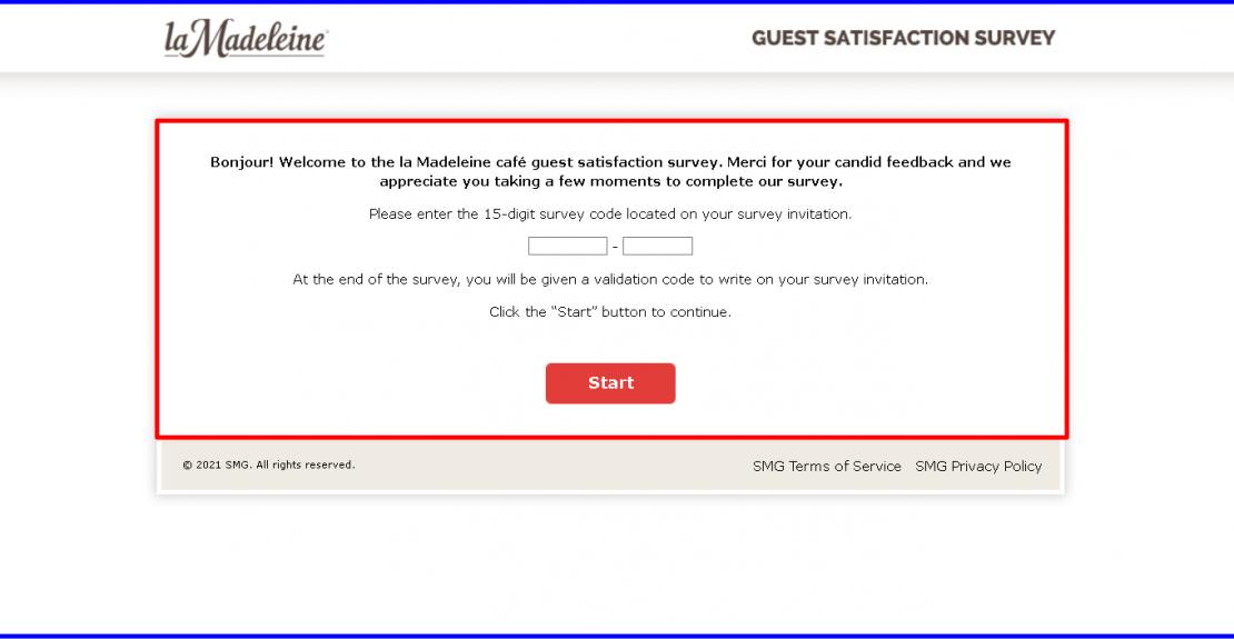 La Madeleine Café Guest Satisfaction Survey