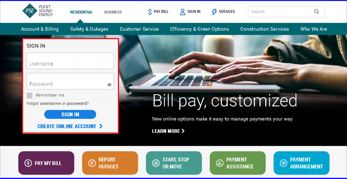 Puget Sound Energy Online Bill Pay